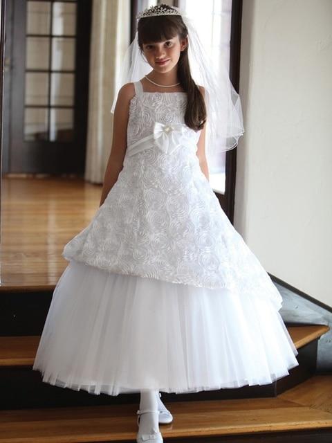 Charming Erstkommunion Kleid Hochzeit 3D Rosette Blumen Brautjungfer ...