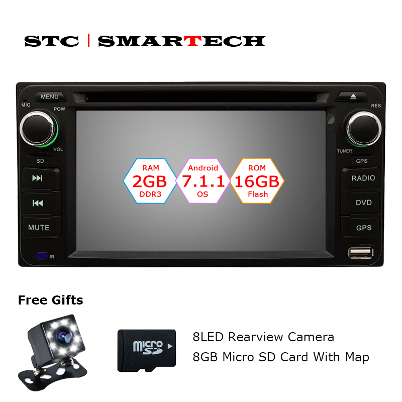 SMARTECH 2 din Android 7.1.2 Car DVD player GPS navigation Autoradio for Toyota Corolla Hilux Camry Quad Core 2GB RAM 16GB ROM
