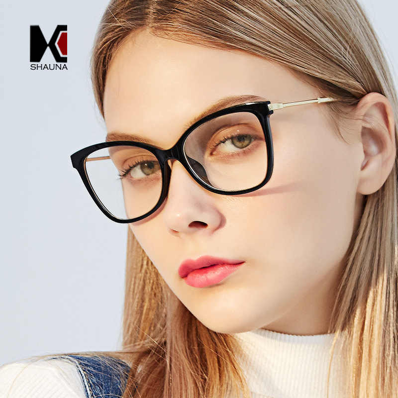 bed7b36f24d27 SHAUNA Myopia Glasses Women Oversize Cat Eye Eyeglasses Clear Lens Frame  Women Retro Myopia Eyewear Prescription