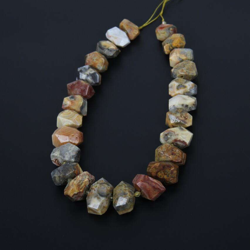 Semiprecious Gems Crazy Lace Stones Slab Necklace Supplies strand,Drilled Faceted Nuggets Raw Gems Stone Double Points Pendants twelve gems