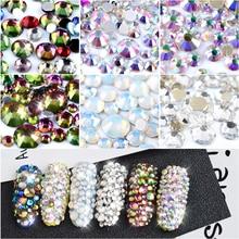 1Pack Crystal Opal White Mixed Size Nail Art Rhinestones Shiny AB Colorful Non Hotfix Flatback 3d Strass Stone Nails Decorations