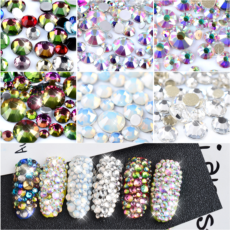 1Pack Crystal Opal Hvit Blandet Størrelse Nail Art Rhinestones Shiny AB Colorful Non Hotfix Flatback 3D Strass Stone Nails Decorations