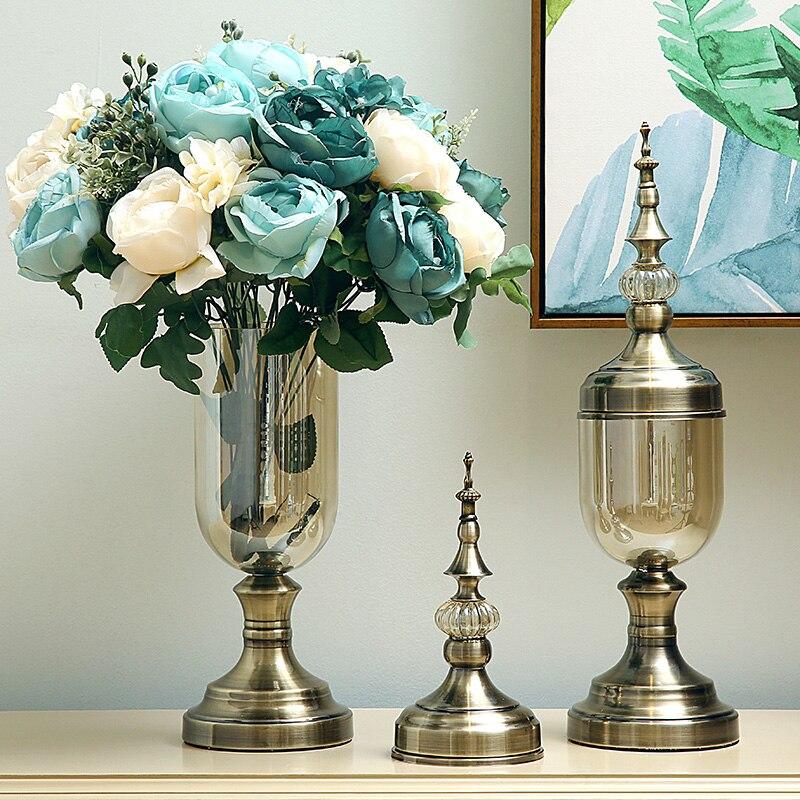 Ev ve Bahçe'ten Vazolar'de Avrupa cam vazo kristal süsler, modern minimalist Amerikan çiçek düzenleme süslemeleri yemek masası TV kabine oturma'da  Grup 2