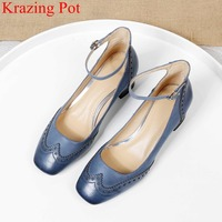 2019 new superstar genuine leather genuine leather buckle strap shallow women pumps elegant office lady mature wedding shoes L02