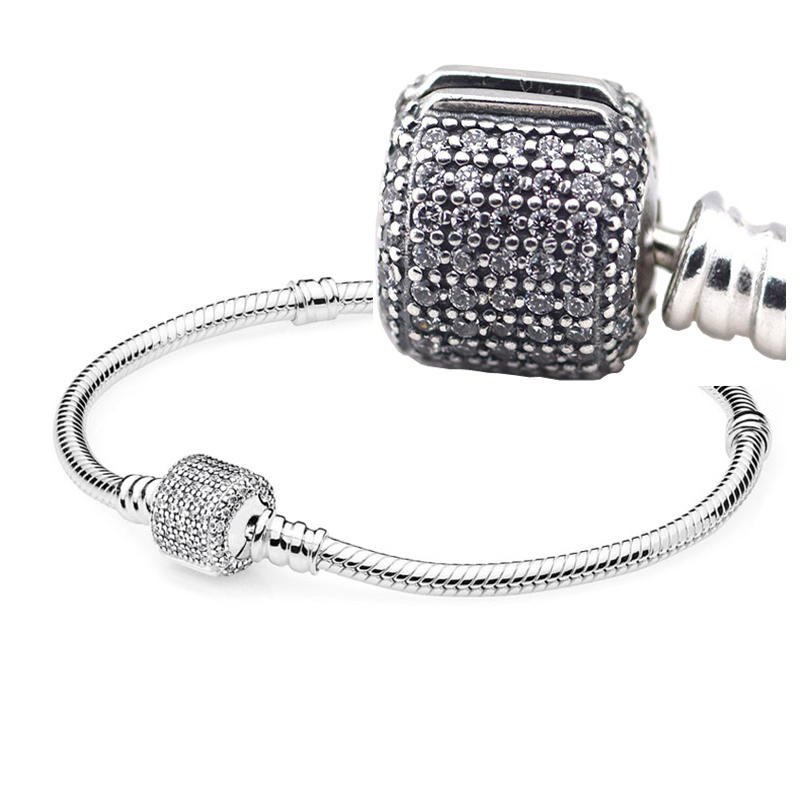 fed30a5de 925 Sterling Silver Bracelet Compatible with Brand Jewelry Moments Silver  Signature Barrel Clasp with Clear CZ