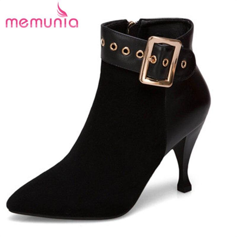 MEMUNIA plus taille 33-43 femmes bottes simple boucle de mode bottes sexy talons stiletto talons nouveau arrivent 2018 cheville bottes