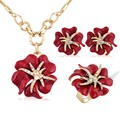 Fashion Wedding Jewelry Sets Hot Sale  Gold Plated Rhinestone Enamel Earring/Necklace/Ring Rose Flower Jewelry Set For Woman