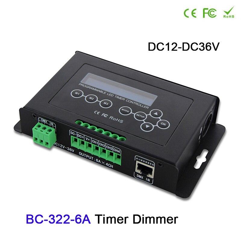 BC 322-6A minuterie Programmable a mené l'entrée DMX512 de contrôleur de gradateur de lumière de bande d'aquarium avec le système d'horloge intégré d'affichage à cristaux liquides