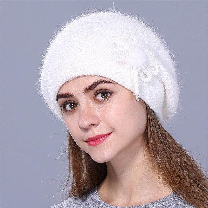 AS-FR88240-Chapeau-d-039-hiver-pour-les-femmes-tricotee-Lapin-Beret-fourrure-solide