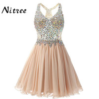 2017 Sexy V Neck Short Cocktail Dresses Chiffon Pleat Ruffles Beaded Crystal Rhinestone Formal Party Dress Real Picture