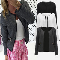 Spring Autumn Women Plaid Coat Short Jacket Casual Long Sleeve Zipper Pockets Slim Blazers Suit Cardigans