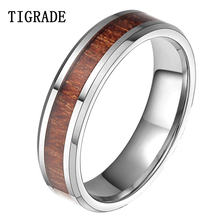 TIGRADE 6mm Wood Inlay Tungsten Carbide Ring High Polished Edge Mens Rings Wedding Engagement Band Fashion Jewelry