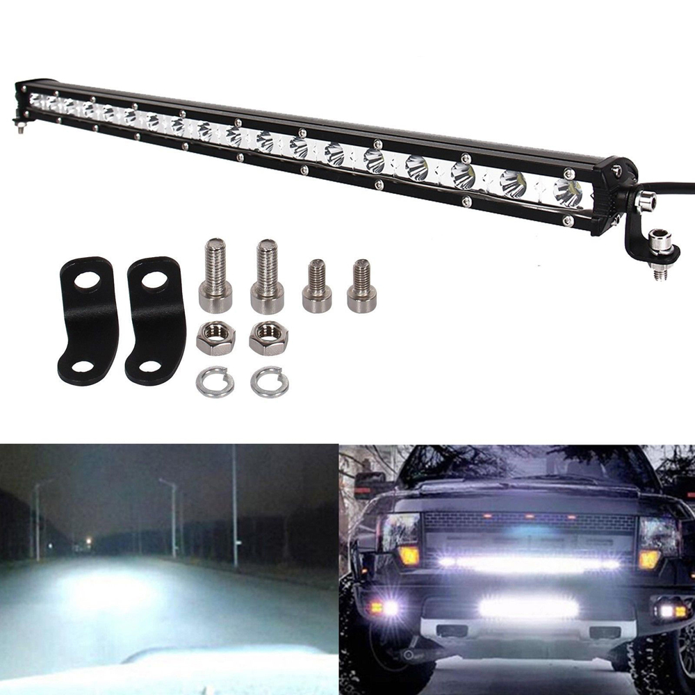 1pc Slim 20INCH 54W LED WORK LIGHT BAR SINGLE ROW DRIVING LAMP Spot Flood Beam Fit for UTE ATV SUV Ford JEEP Truck Boat 4x4WD