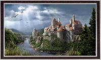 Embroidery 14CT Unprinted Art Quality Counted Cross Stitch Kits Set Image Oil Fantasy Castle Patterns Wall Decoration Home