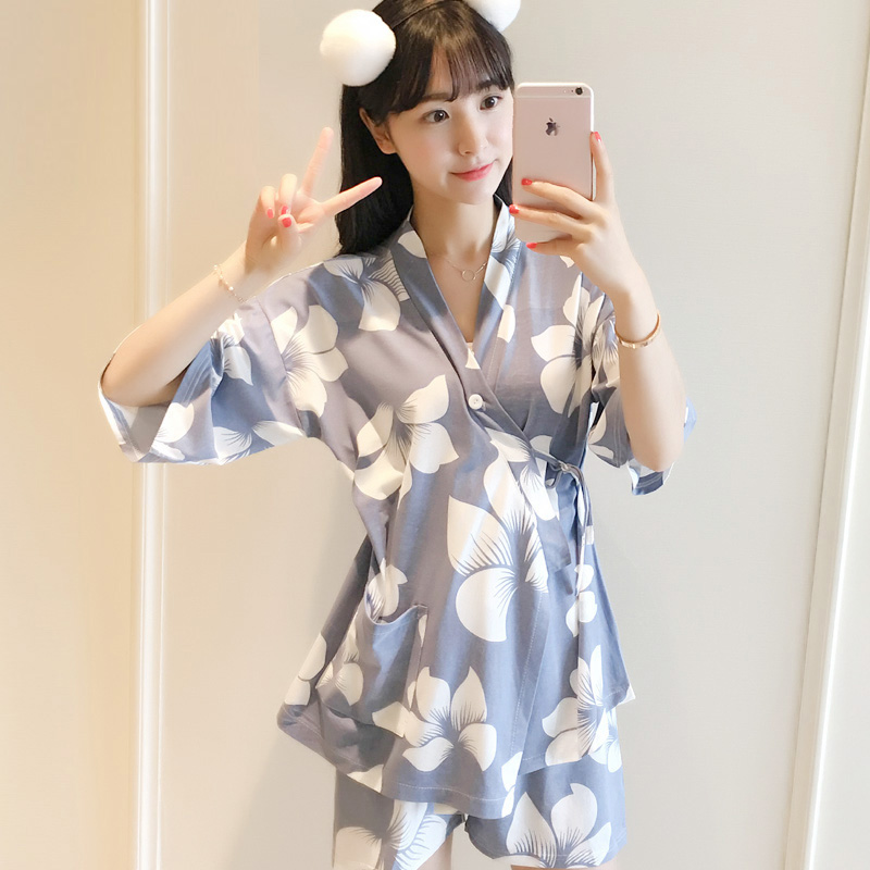 Yidanna Women   Pajamas     Set   Milk Silk Sleepwear Short Sleeve Nightwear Floral Nightdress Female Kimono Pyjamas Suit Nightie Summer