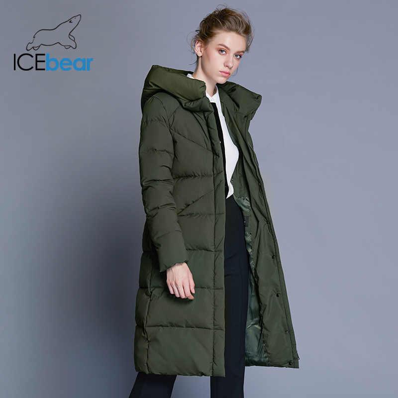 ICEbear 2019 nueva chaqueta de invierno de alta calidad para mujer diseño de puño simple a prueba de viento abrigos femeninos de marca de moda parka mwd18150