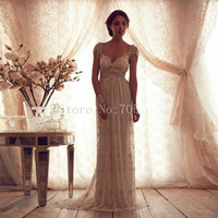 Beach 2016 Wedding Dresses Sheath V Neck Lace Crystals Backless China Wedding Gown Bridal Dress Bridal