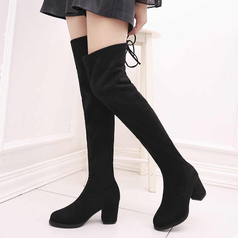 1c8f91e6943 Detail Feedback Questions about black overknee boots flat heels slip ...