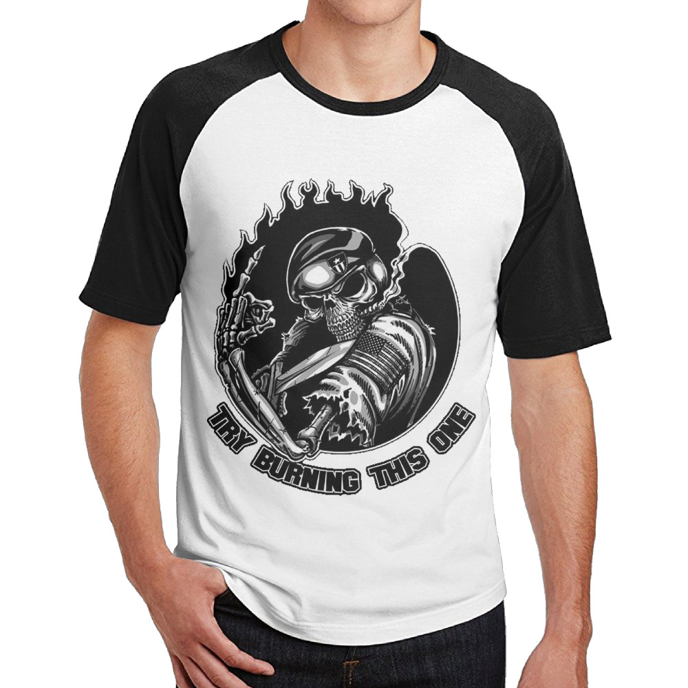 Try Burning This One Cotton Print O-Neck Mens Camiseta Hipster Die Dye Breathable Short Sleeves Tops