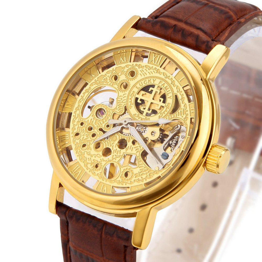 lucky brand watches for men promotion shop for promotional lucky hot automatic mechanical watch for male hollow skeleton high quality leather band wristwatches top brand luxury