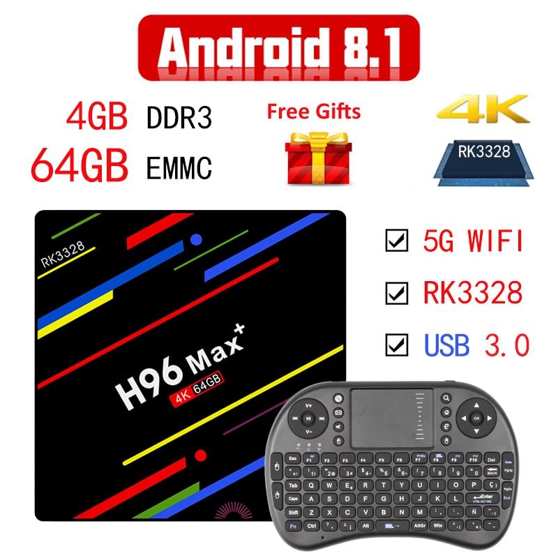 Android 8.1 boîtier de smart tv H96 Max + RK3328 4 GB RAM 64 GB ROM 5G Wifi 100 M LAN H.265 boîtier de télévision androïde VP9 USB 3.0 Pologne Set-top Box