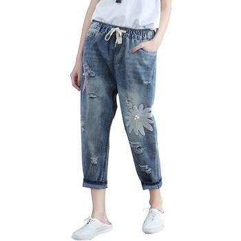 b9d1d9a22596 Плюс Размеры 4XL Лето отверстие рваные джинсы в мужском стиле для Для  женщин Vaqueros ...
