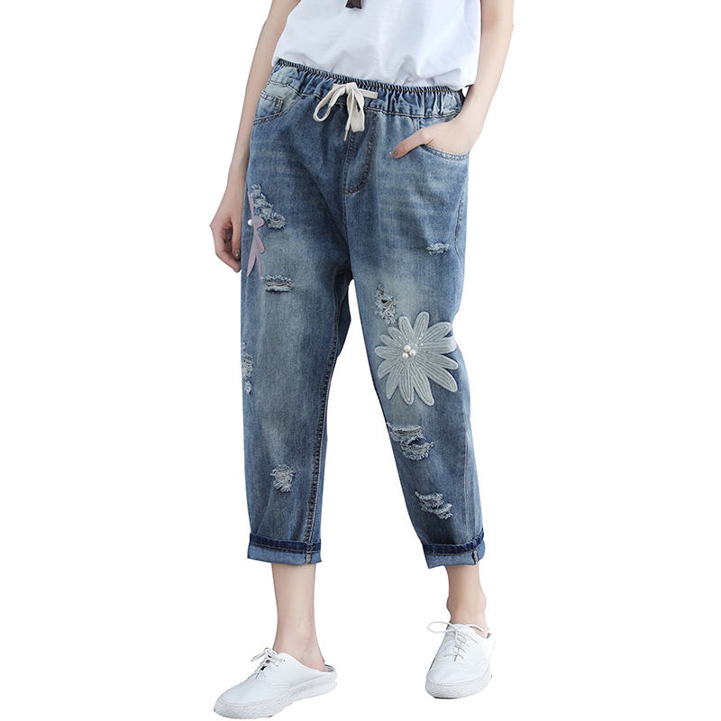 Plus Size 4XL Summer Hole Boyfriend Ripped Jeans For Women Vaqueros Mujer Elastic Waist Harem Pants Drawstring Denim Jeans C5263