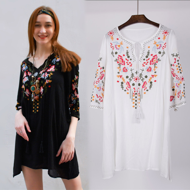 Hot Sale Ethnic New Summer Vintage Elegant Floral Embroidered Round Neck Short Sleeve Shirt Batwing Blouse Free Shipping blouse