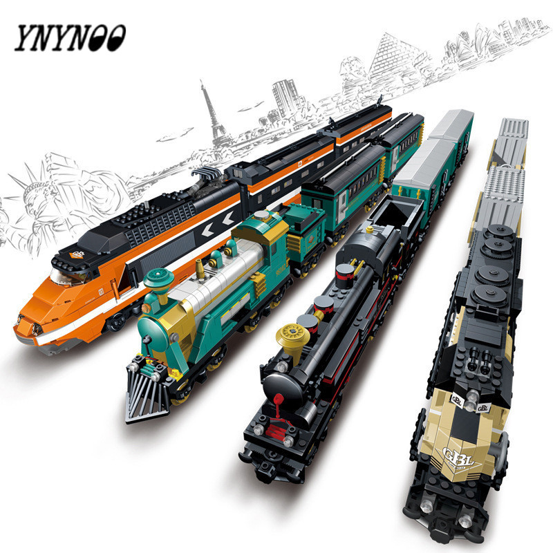 YNYNOO Battery Powered Maersk Train Container Train diesel-electric freight train Building Blocks educational toys for children lepin 21006 compatible builder the maersk train 10219 building blocks policeman toys for children