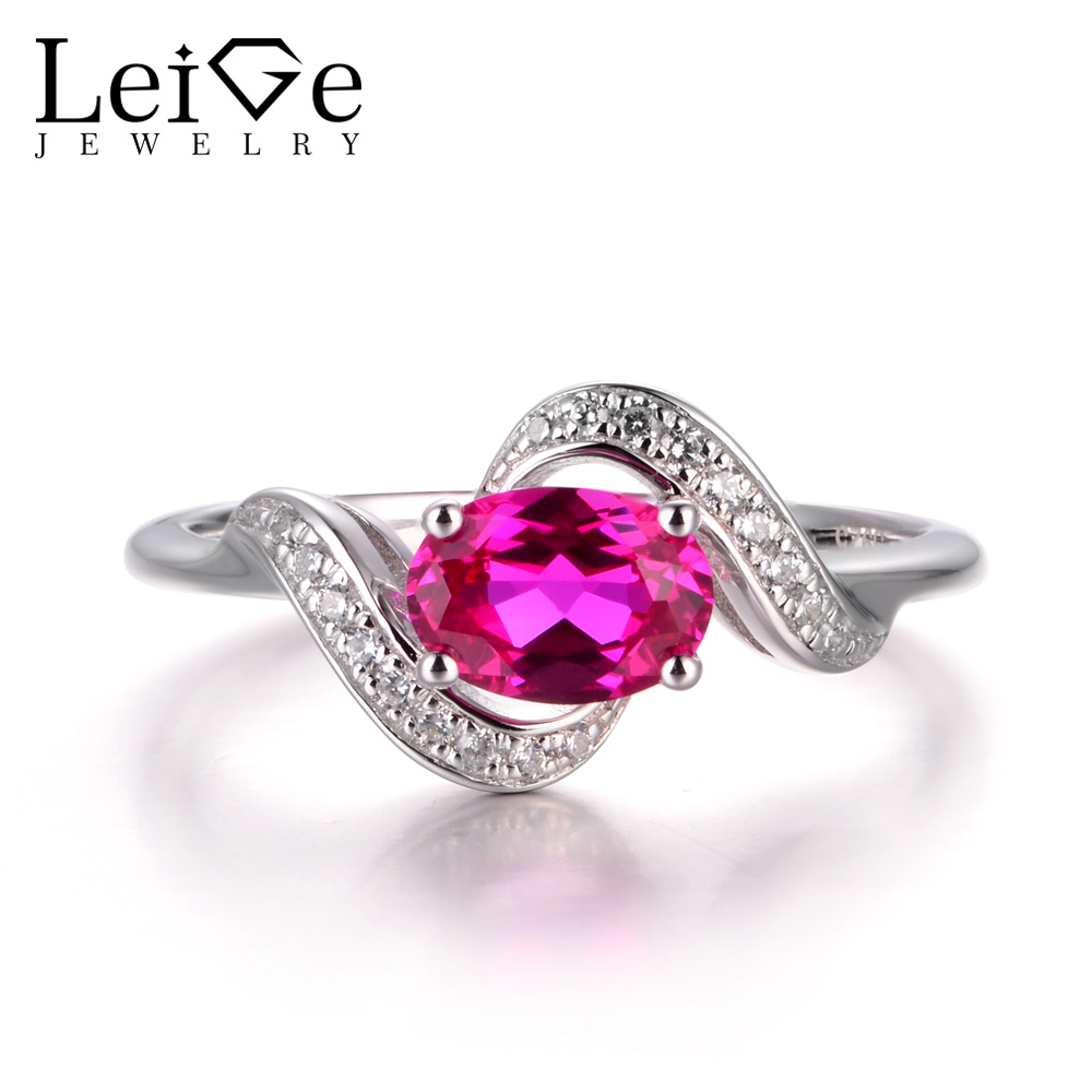 LeiGe Jewelry July Birthstone Rings Ruby Anniversary Rings Oval Cut Red Gemstone Rings Real 925 Sterling Silver Lovely Rings