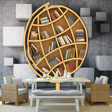 custom-made 3d photo non-woven wallpaper wall 3d mural wallpaper 3d art bookshelf library TV background wall for study room(China)