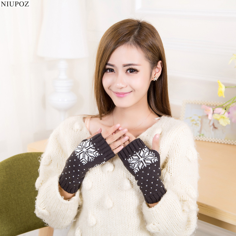 2017 Hot Women Lovely Snowflakes Pattern Knitted Wrist Arm Long Fingerless Mitten Winter Gloves Soft Warm G8