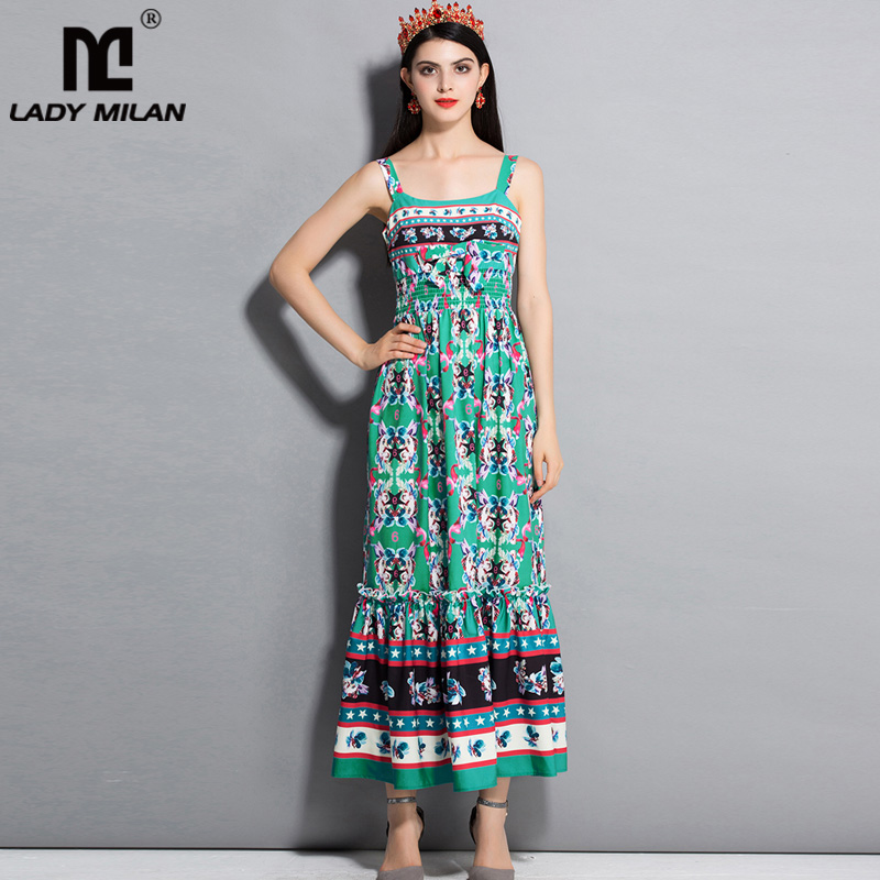 New Arrival 2018 Womens Spaghetti Straps Floral Printed Elastic Waist Ruffles Fashion Summer Holiday Beach Dresses