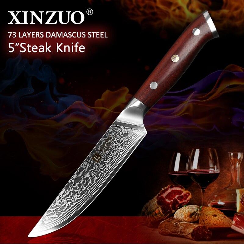 XINZUO 5 ''pouces Couteau À Steak de Haute Carbone Japanses Damas En Acier Inoxydable avec Manche En Palissandre Qualité Supérieure BBQ Outil de Cuisine
