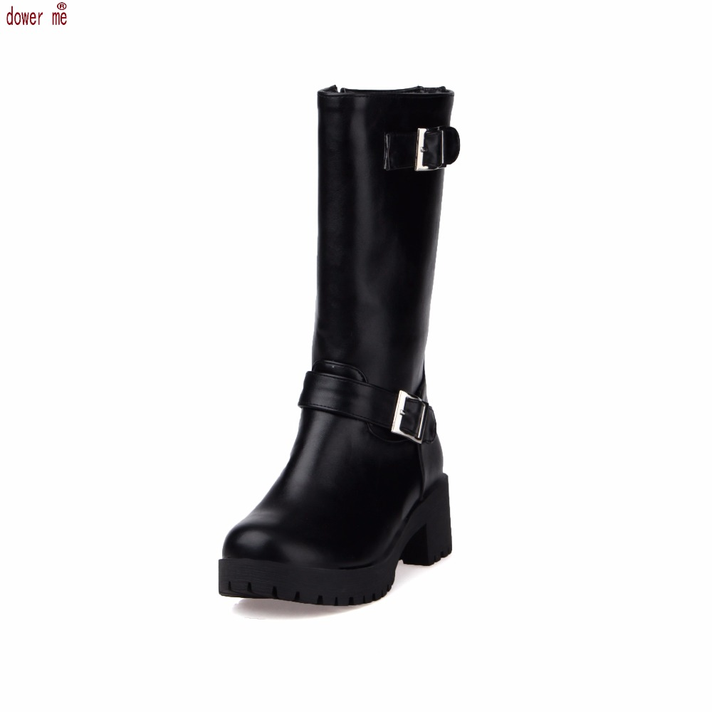 Plus size 43 fashion new arrival Pu Leather Winter Women Motorcycle Boots Black White Red flats