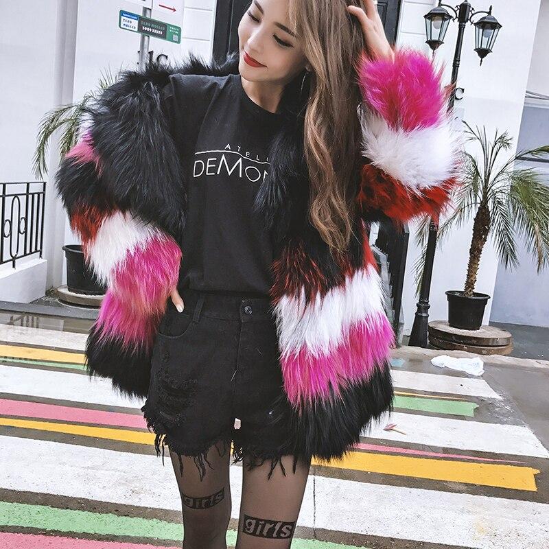 M 2019 D'hiver Réel Manches Fourrure Manteau De Fansty Complet Naturel Renard Des Bande Y Couleur Femmes Rose Manteaux Contraste Fuchsia T7Tqwxp