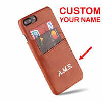 For iPhone X XR XS Max 6S 7 7Plus 8 8Plus Phone Case Personalized Genuine Leather Card Slot Gold Silver Custom Your Name Text