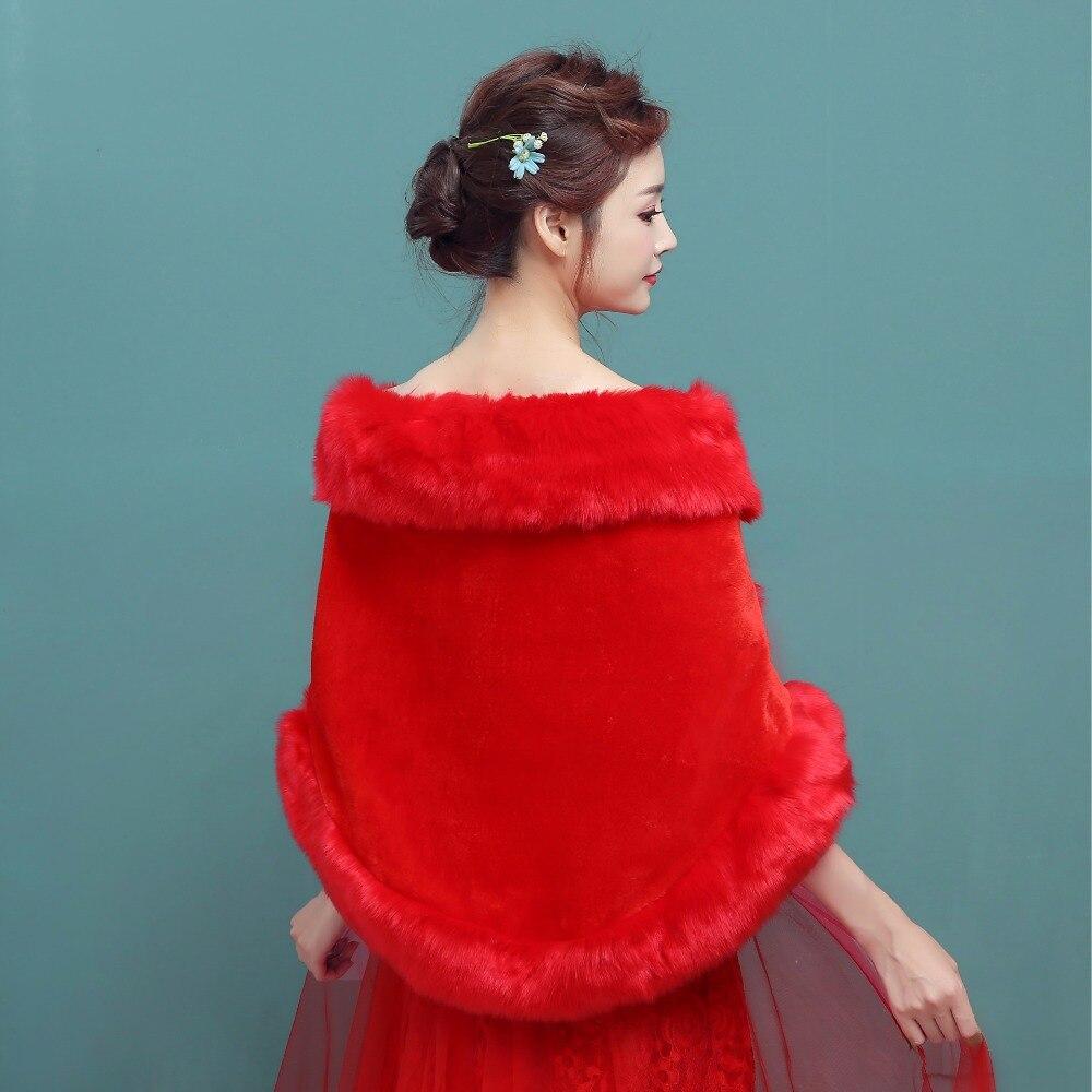 Bolero Rouge Mariage dedans en stock 2018 hiver faux manteau de fourrure blanc rouge de