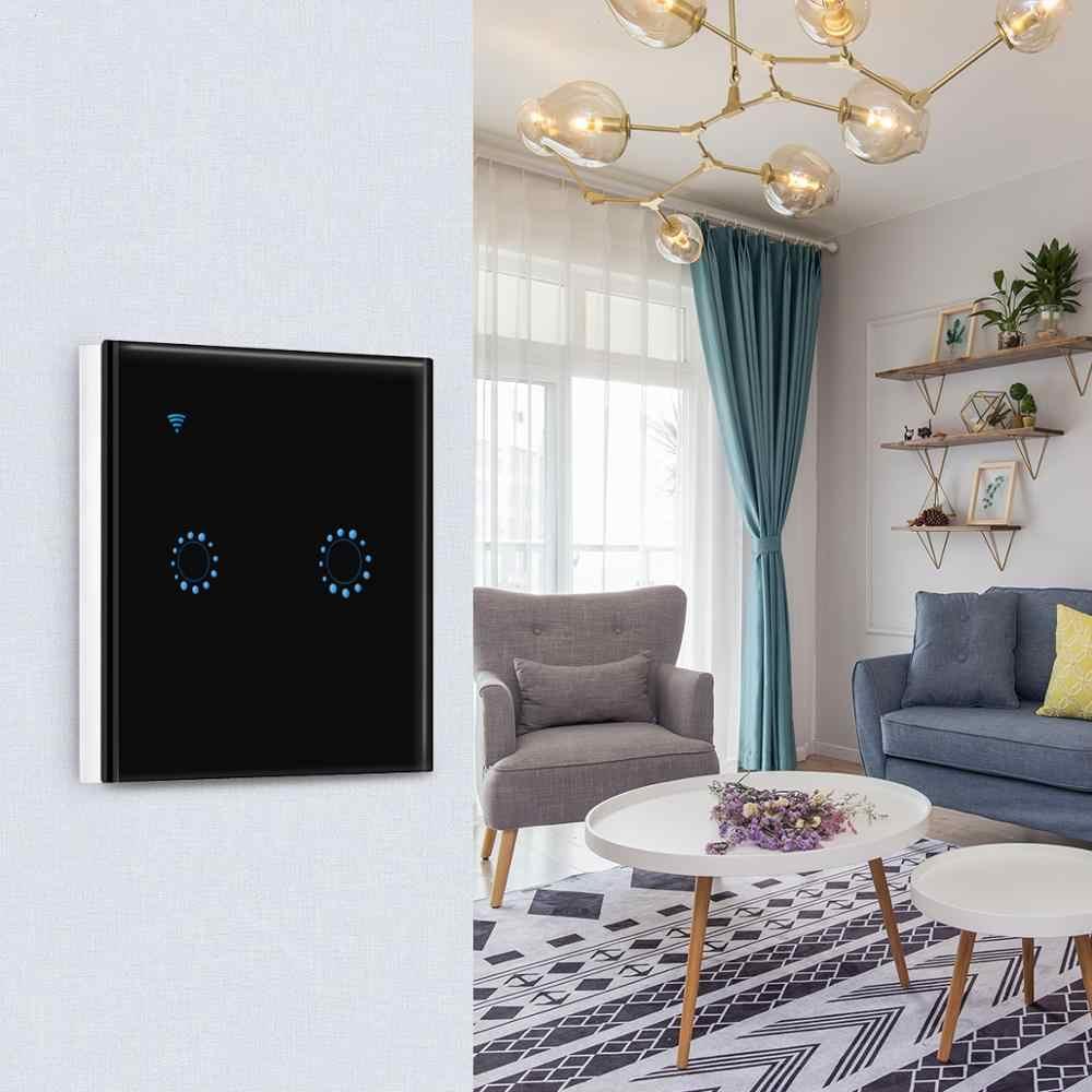 Inteligentny Wifi włącznik dotykowy na ścianę 1 2 3 Gang szkło panelowe oświetlenie ścienne przełącznik ue/wielkiej brytanii standardowy czarny Ewelink APP wsparcie Alexa Google ho