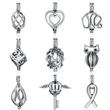 BAMOER 925 Sterling Silver Daisy Flower Tree Leaves Feather Heart Cage Pendant fit Women Chain Necklace Pendant jewelry SCP024