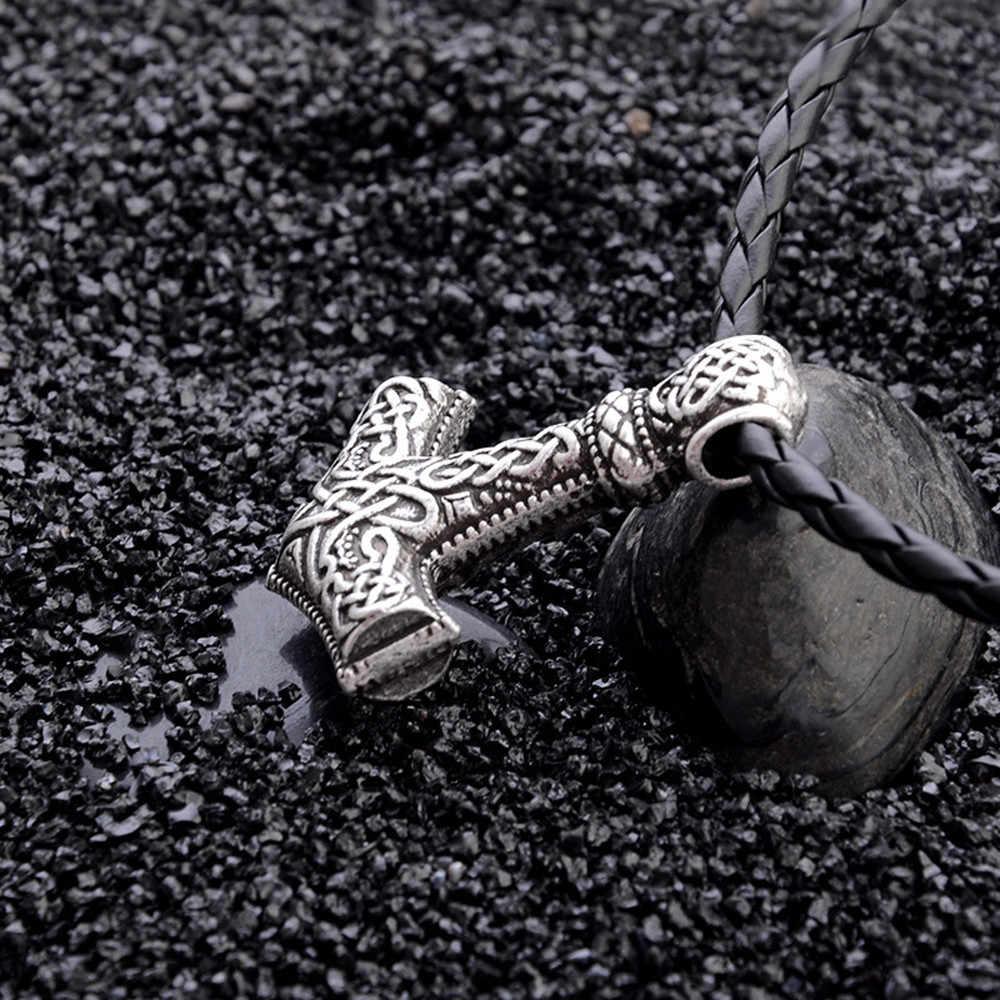 1 sztuk Norse Vikings Amulet wisiorek naszyjniki młot thora Mjolnir wisiorek skórzana lina naszyjniki zwierząt węzeł Viking biżuteria