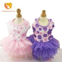 Lace Pet Dog Vest Dress Flower Decorate Tutu Dress Cat Princess Clothes Flower Supplies DOGGYZSTYLE