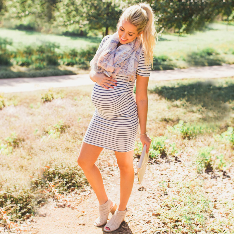 maternity dress-pregnancy dress-striped maternity dresses side 02 AS1751