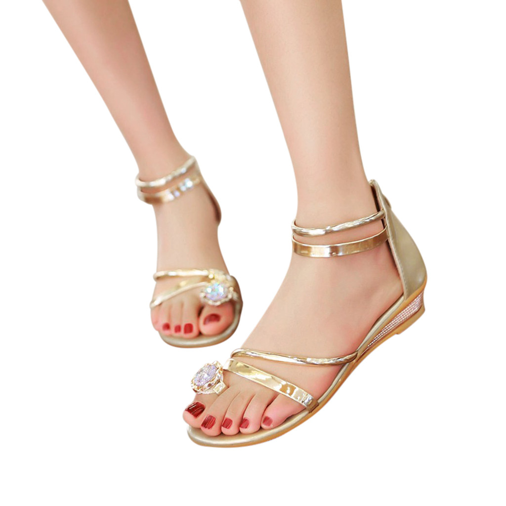 US $8.76 35% OFF|YOUYEDIAN summer shoes women sandals 2019 gold Open Toe Flats Sparkle Wedding Bridal Prom Ladies Party Shoes Sandals#G40 in Low Heels