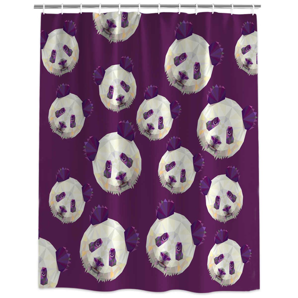Милые геометрические голова панды занавеска для душа декоративная ткань занавеска для душа Товары для ванной комнаты декор с крючками