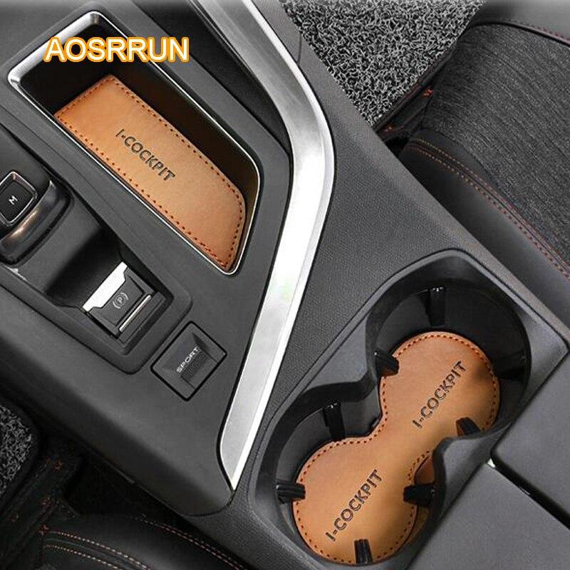 AOSRRUN En Cuir tasse d'eau coussin pour un amorti Couvre accessoires De Voiture POUR Peugeot 5008 2017 voiture style