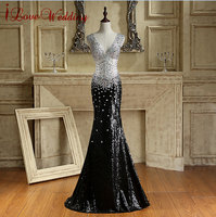 Sparkly Beaded Crystals V Neck Formal Evening Dress Sheer Sequins Sexy Floor Length Robe De Soiree