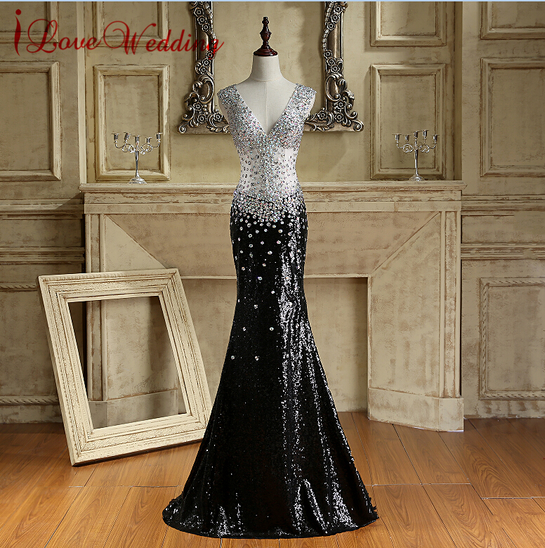 Sparkly Formal   Evening     Dress   Sexy Backless Black Sequins   Evening   Gown Crystals Beaded Robe De Soiree Long Mermaid Prom   Dresses