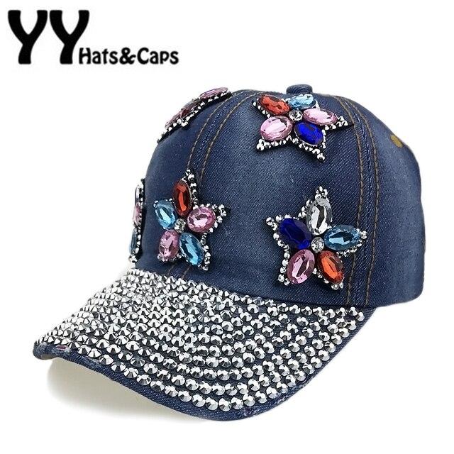47e14d77eae Floral Rhinestones Baseball Cap Women Denim Snapback Diamond Dad Hat Hip  Hop Jean Baseball Caps Bone Baseball dos Strass YY17189