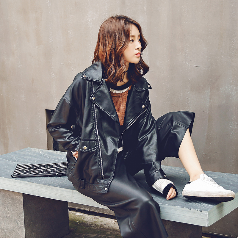 Motorcycle Cool Black Jacket Coat Zipper Spring Autumn New Korean Pocket Turn Down Collar Faux Pu   Leather   Female